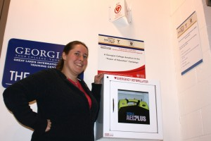 Georgian College staff member Nicole Graham and AED Plus