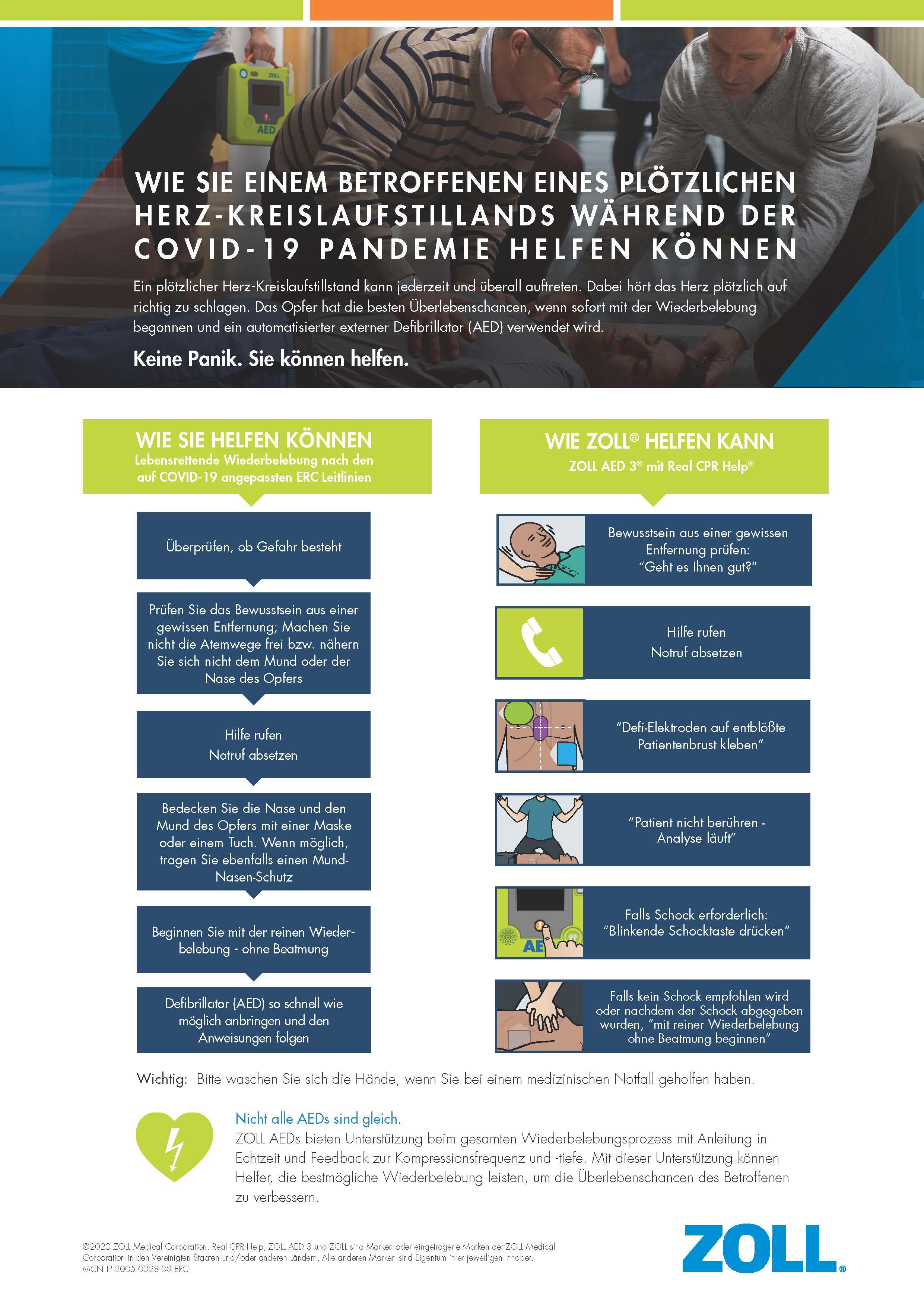 Wie Sie einem Betroffenen mit plötzlichen Herz-Kreislaufstillstand während COVID-19 helfen können