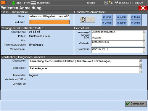 AmbulancePad Patienten Anmeldung
